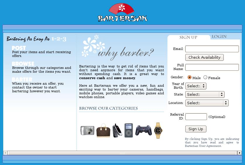 Main Bartersan page
